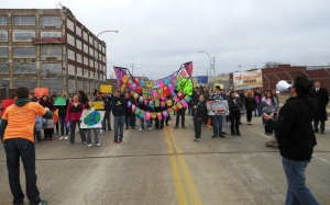 Marchers line up before beginning Project Bridge March at south end of Groppi Bridge