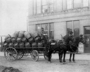 Horse-drawn wagon carried Fauerbach's Beer in Madison, Wisconsin (circa 1886)