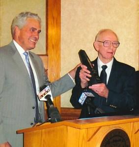 Ald. Bob Bauman presents the Frank P. Zeidler Public Service Award to Ken Germanson Sept. 3, 2014 at Milwaukee City Hall